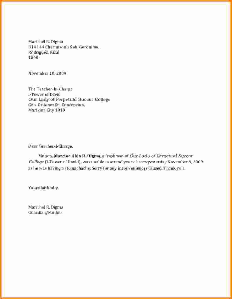 Sample Absent Letter to Teacher Lovely 6 Example Of An Excuse Letter