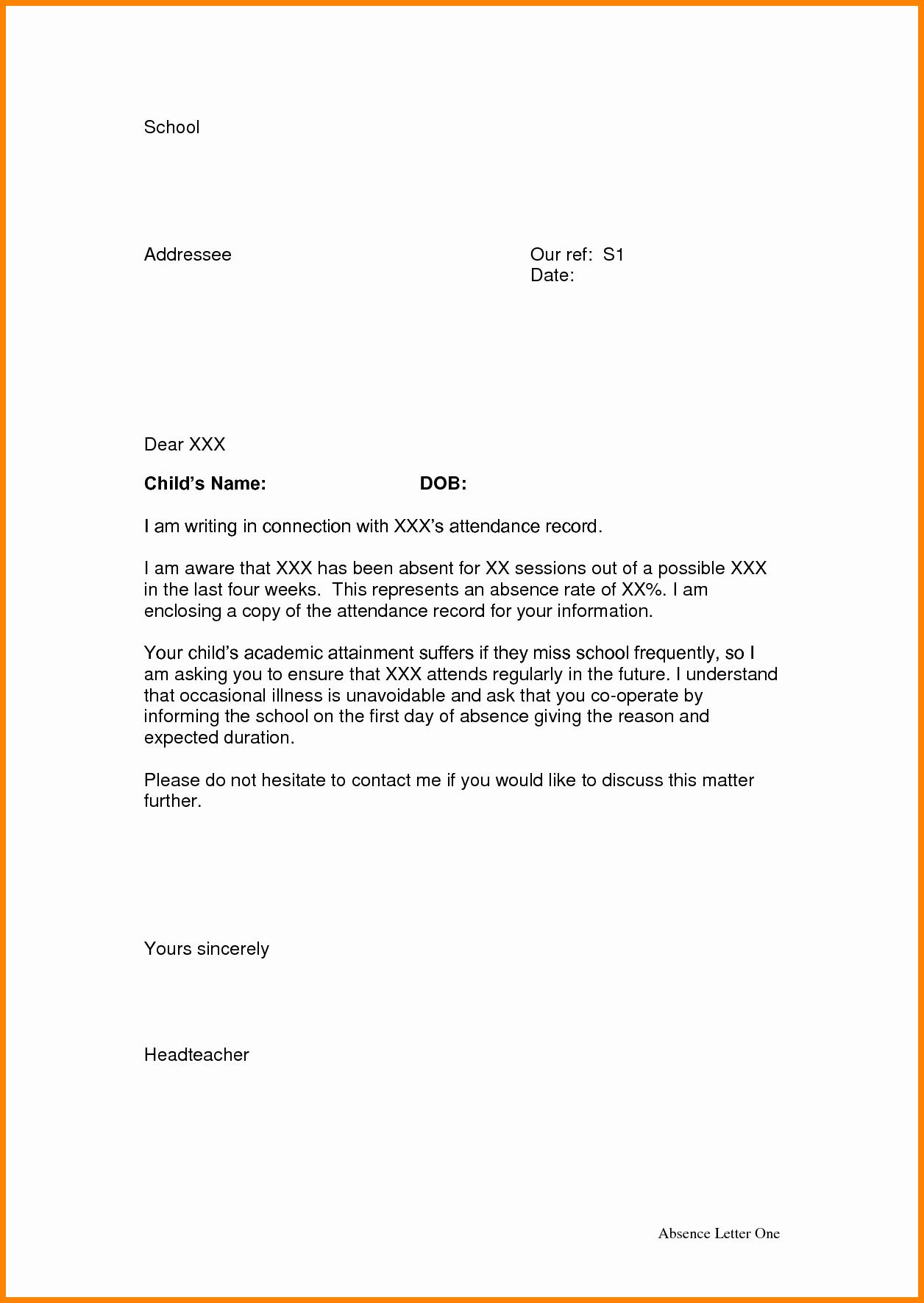 Sample Absent Letter to Teacher Lovely 7 Letter for School Sample