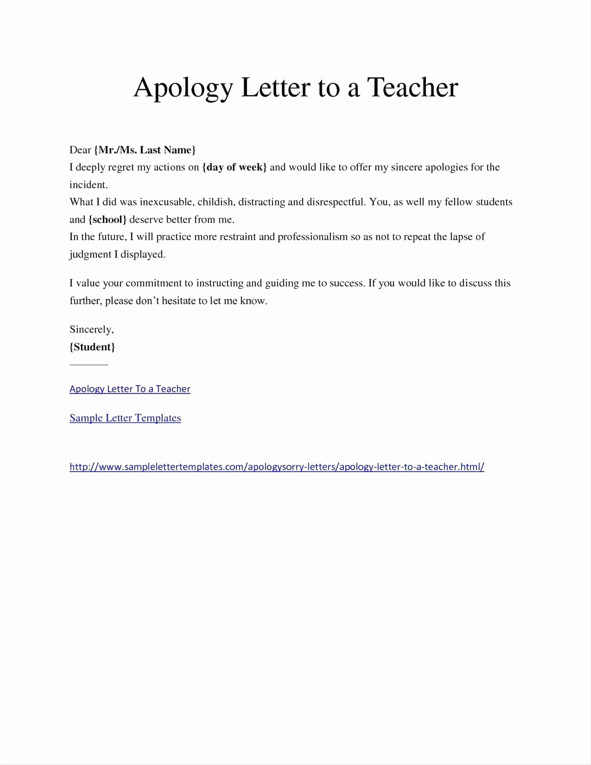 Sample Absent Letter to Teacher Lovely Letter Absent From School Apology to Teacher for Absence