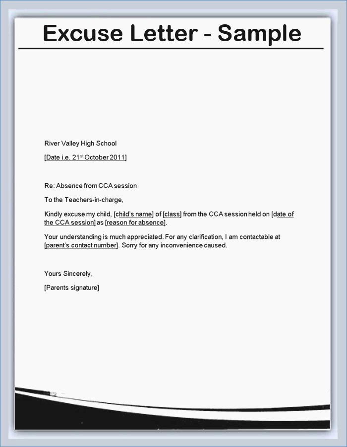 Sample Absent Letter to Teacher Lovely Luxury Example Excuse Letter