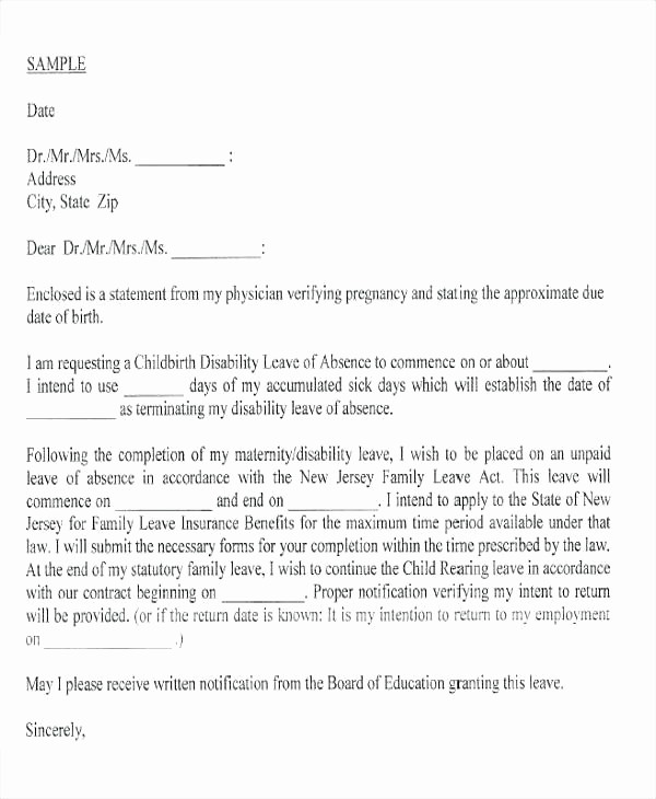 Sample Absent Letter to Teacher Luxury Sample Leave Of Absence Letter to Employee New Example