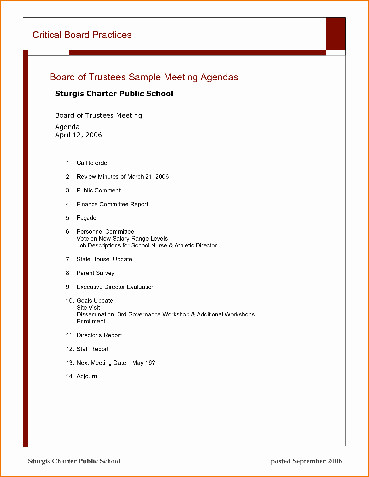 Sample Agenda for A Meeting Awesome 7 Sample Meeting Agendas