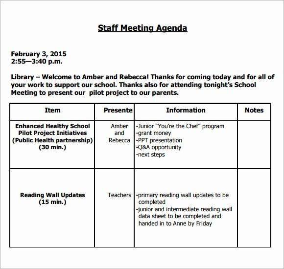Sample Agenda for A Meeting Best Of 5 Staff Meeting Agenda Samples