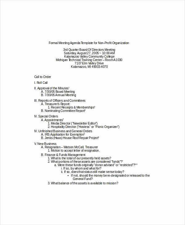 sample formal meeting agenda