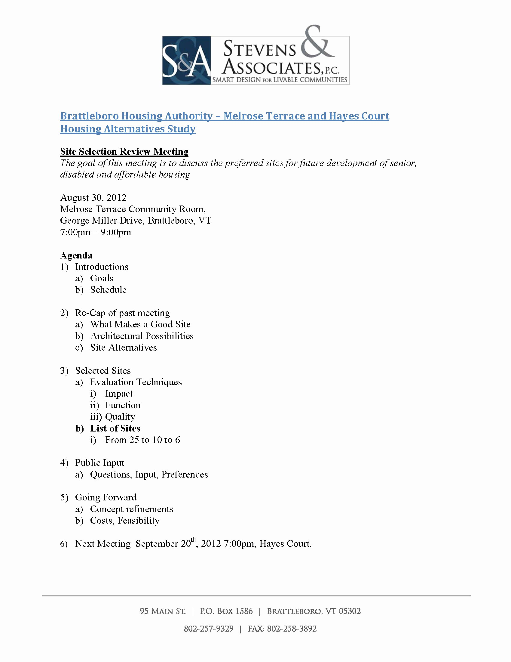 Sample Agenda for A Meeting Elegant Brattleboro Housing