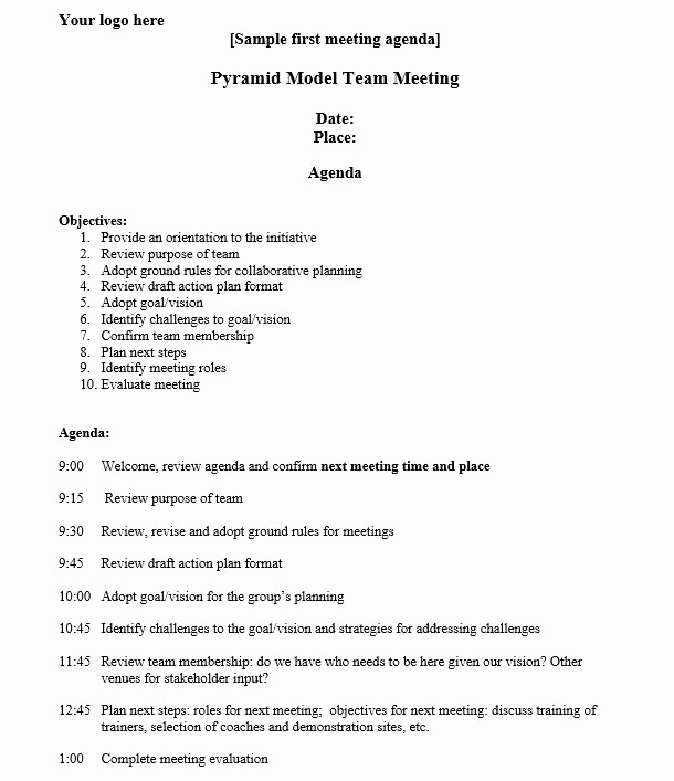 Sample Agenda for A Meeting Fresh 8 Free Sample Strategic Meeting Agenda Templates