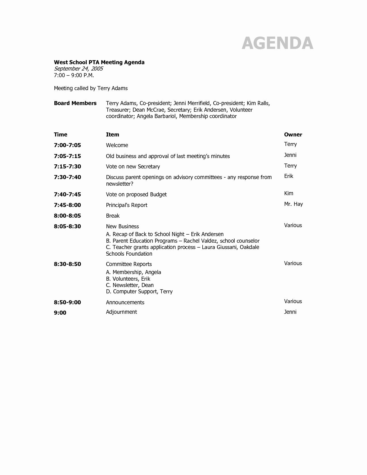 Sample Agenda for A Meeting Fresh Agenda Template Category Page 2 Efoza
