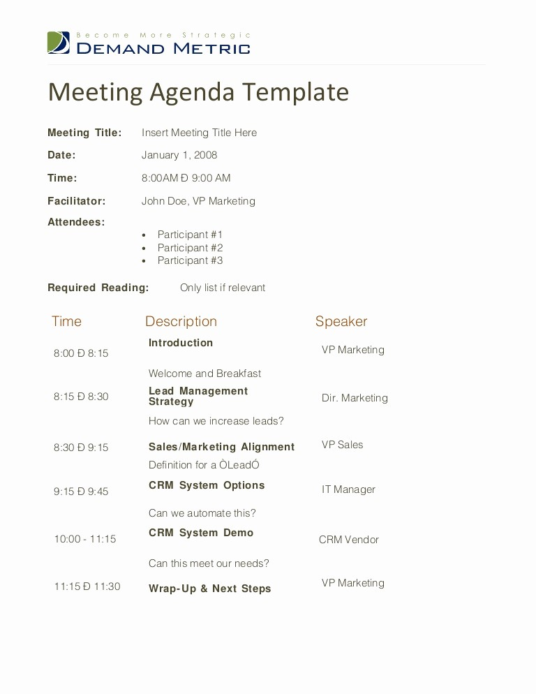 Sample Agenda for A Meeting Inspirational Meeting Agenda Template