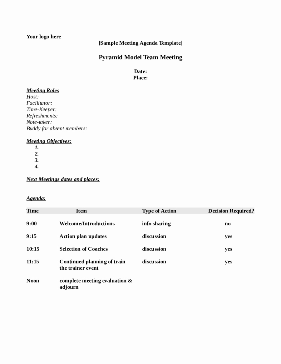 Sample Agenda for A Meeting Lovely 2019 Meeting Agenda Template Fillable Printable Pdf