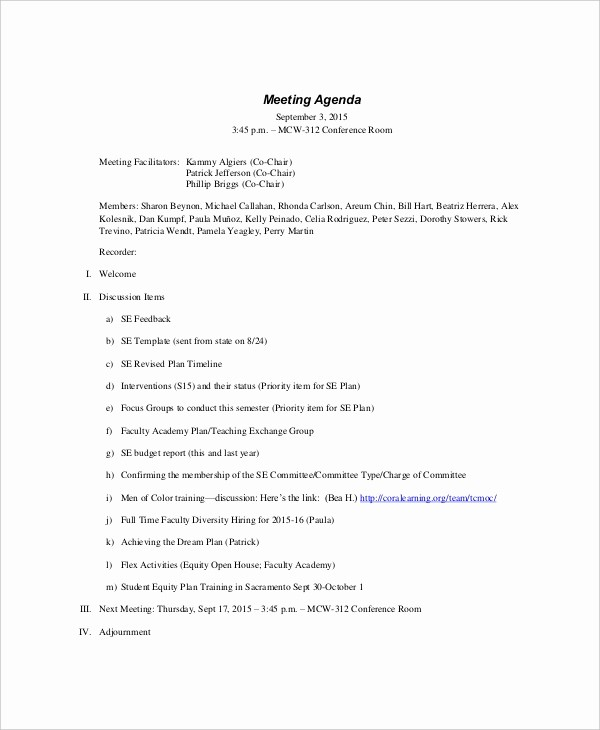 Sample Agenda Template for Meeting Awesome 9 formal Meeting Agenda Templates Pdf Doc