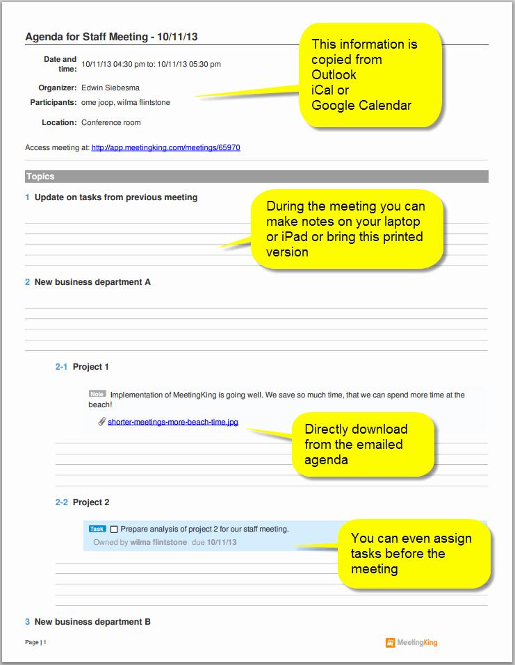 Sample Agenda Template for Meeting Beautiful Sample Staff Meeting Agenda Template