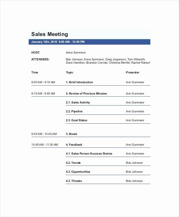 Sample Agenda Template for Meeting Best Of 12 Sales Meeting Agenda Templates – Free Sample Example