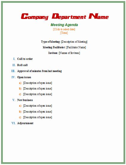 Sample Agenda Template for Meeting Best Of formal Meeting Agenda Template Agendas