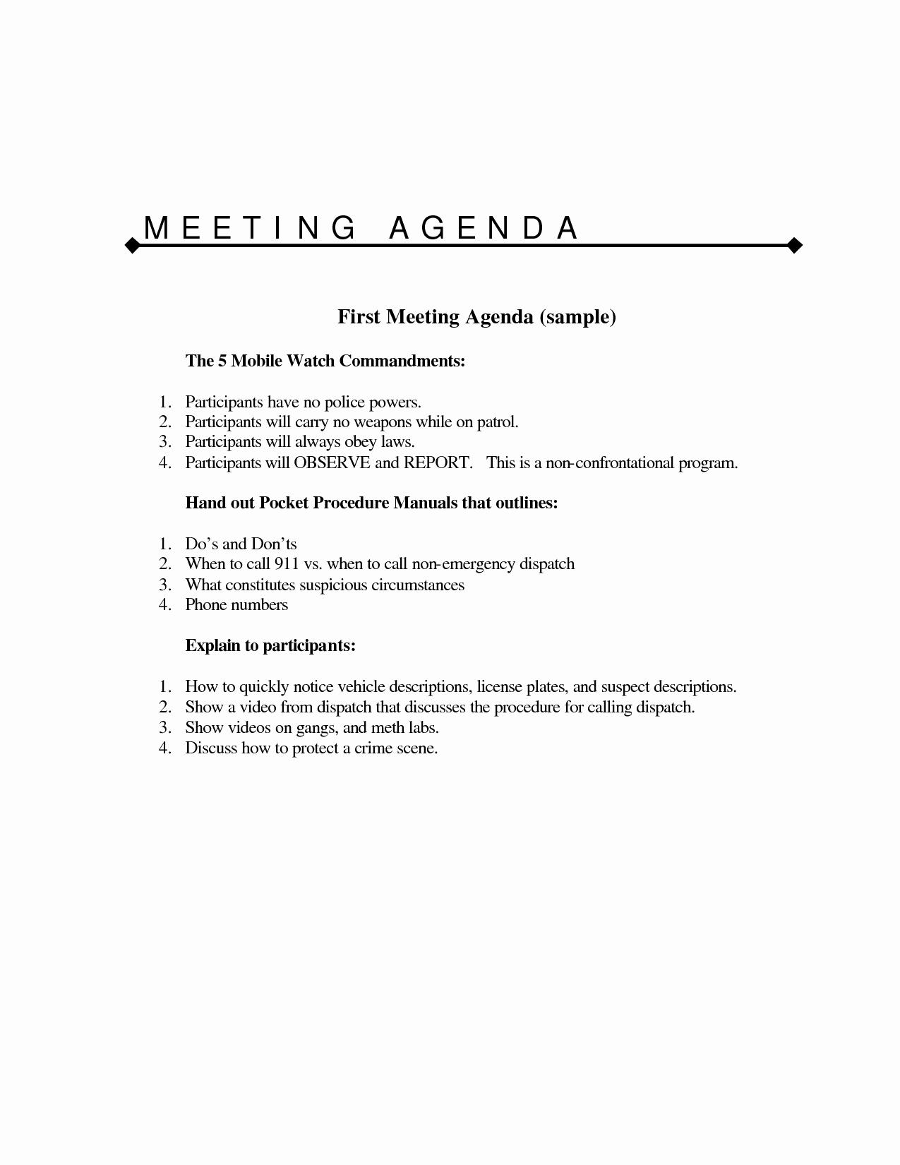 Sample Agenda Template for Meeting Elegant 10 Best Of Meeting Agenda Sample Sample Team