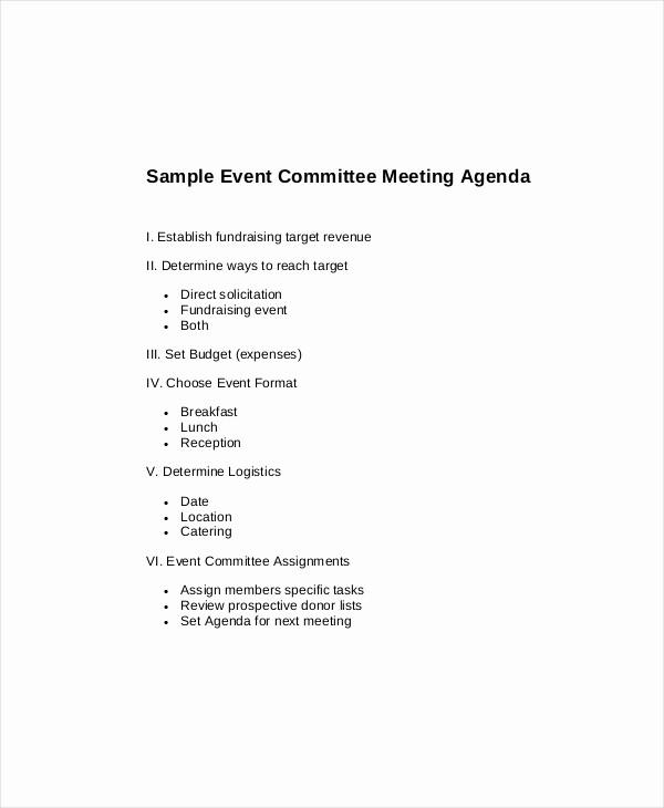 Sample Agenda Template for Meeting Elegant 15 Mittee Meeting Agenda Templates – Free Sample