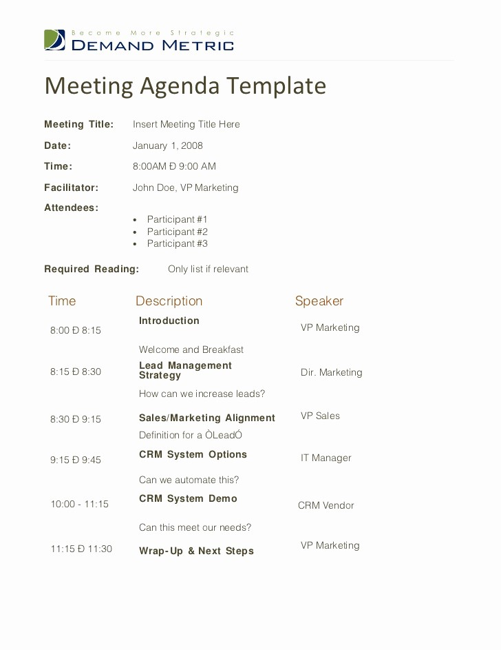 Sample Agenda Template for Meeting Fresh Meeting Agenda Template