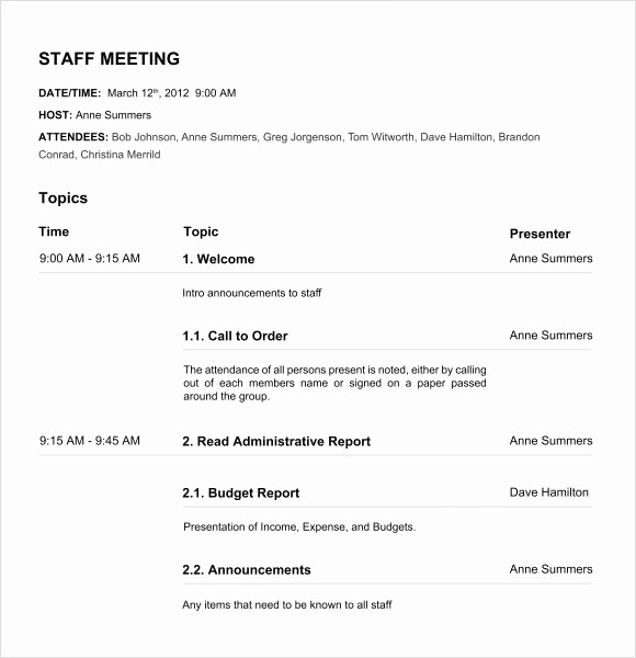 Sample Agenda Template for Meeting Inspirational 12 Board Meeting Agenda Templates – Free Samples Examples
