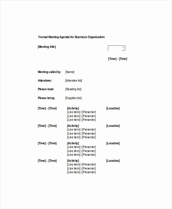 Sample Agenda Template for Meeting Lovely 9 formal Meeting Agenda Templates Pdf Doc