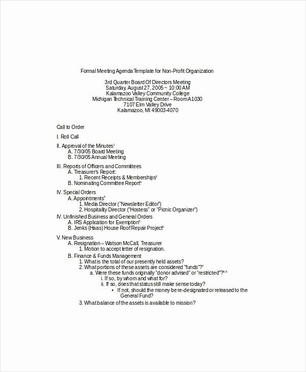 Sample Agenda Template for Meeting Unique 9 formal Meeting Agenda Templates Pdf Doc
