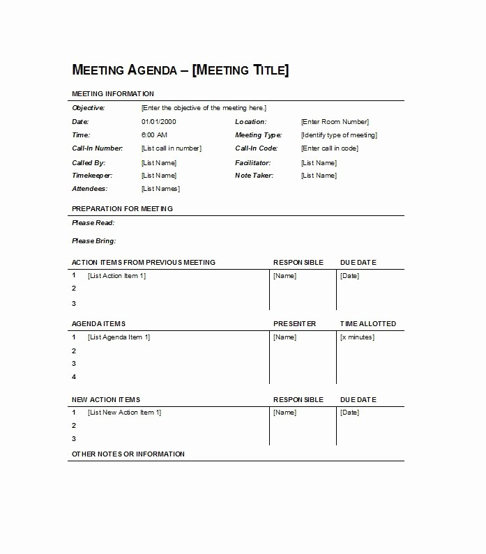 Sample Agenda Template for Meetings Awesome 46 Effective Meeting Agenda Templates Template Lab