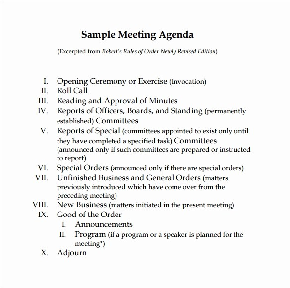 Sample Agenda Template for Meetings Beautiful 12 Sample Board Meeting Agenda Templates