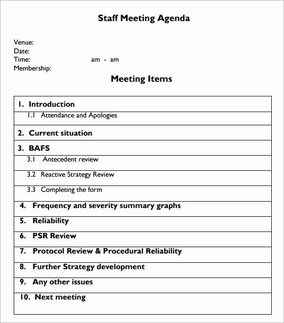Sample Agenda Template for Meetings Beautiful 6 Staff Meeting Agenda Samples