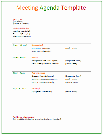 Sample Agenda Template for Meetings Beautiful Meeting Agenda Template Agendas