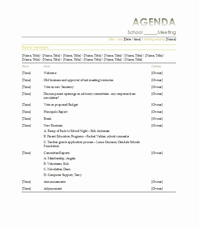 Sample Agenda Template for Meetings Fresh 46 Effective Meeting Agenda Templates Template Lab