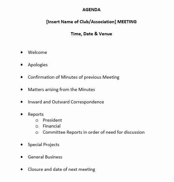 Sample Agenda Template for Meetings Fresh 9 Free Sample Basic Meeting Agenda Templates Printable