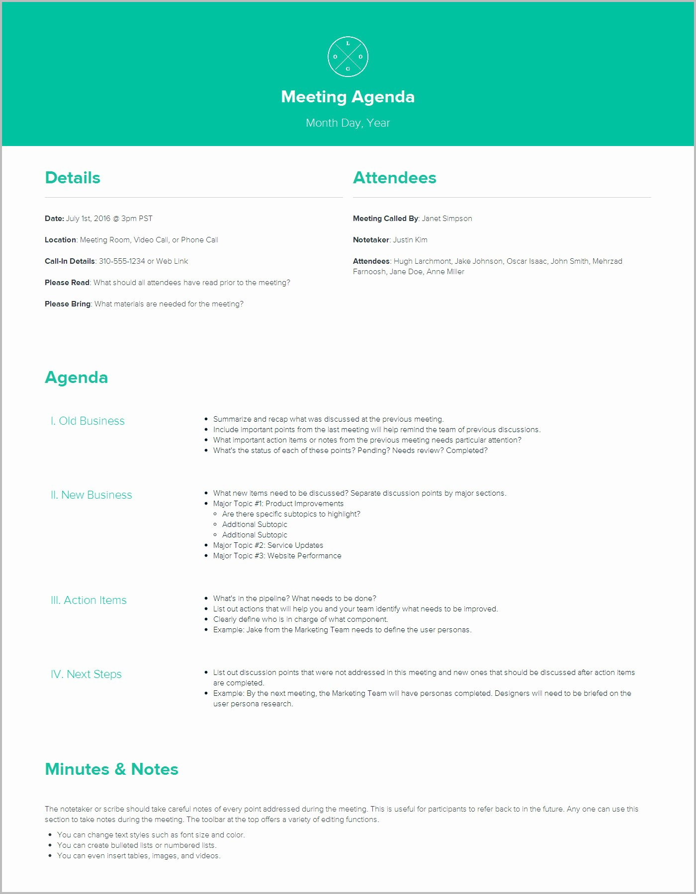 Sample Agenda Template for Meetings Fresh Meeting Agenda Template by Xtensio It S Free