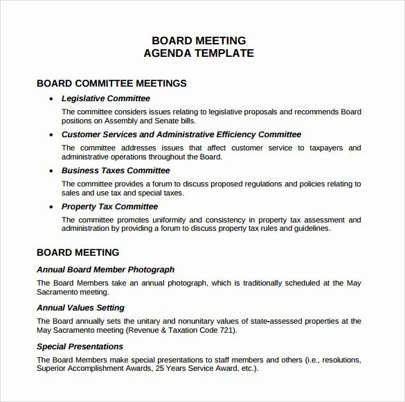 Sample Agenda Template for Meetings Inspirational 12 Sample Board Meeting Agenda Templates