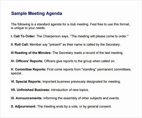 Sample Agenda Template for Meetings Inspirational Business Meeting Agenda Template 5 Download Free