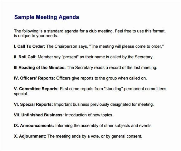 Sample Agenda Template for Meetings Inspirational Business Meeting Agenda Template 5 Download Free