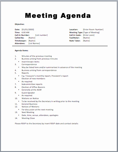 Sample Agenda Template for Meetings Lovely Meeting Agenda Template 1 Agenda