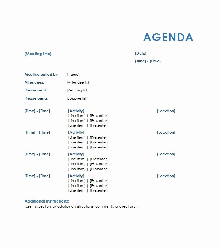 Sample Agenda Template for Meetings Luxury 46 Effective Meeting Agenda Templates Template Lab