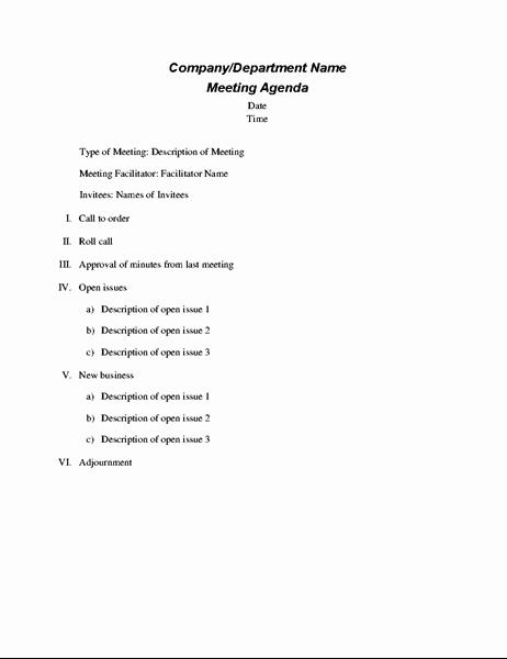 Sample Agenda Template for Meetings Unique formal Meeting Agenda