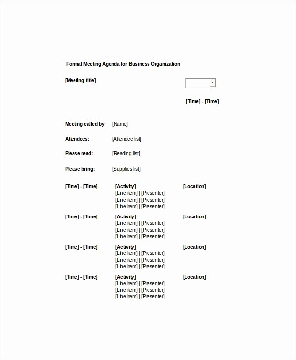 Sample Agenda Templates for Meetings Best Of 9 formal Meeting Agenda Templates Pdf Doc