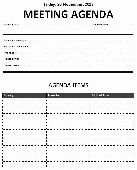 Sample Agenda Templates for Meetings Elegant 15 Meeting Agenda Templates Excel Pdf formats