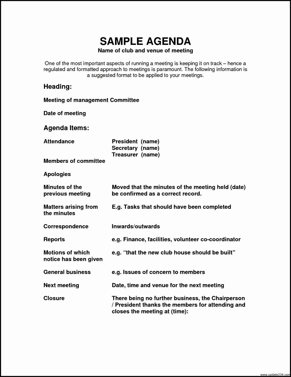 Sample Agenda Templates for Meetings Fresh Sample Agenda Template Template Update234 Template