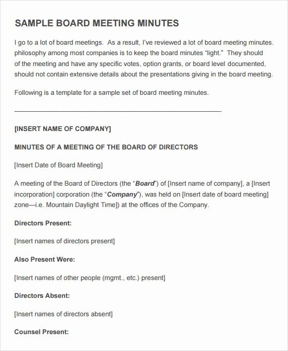 Sample Agenda Templates for Meetings Lovely 12 Sample Board Meeting Agenda Templates