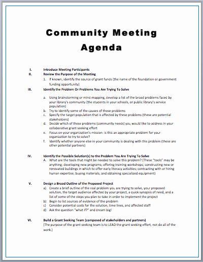 Sample Agenda Templates for Meetings Lovely Munity Meeting Agenda Template