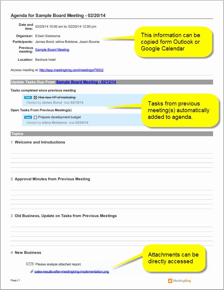 Sample Agenda Templates for Meetings Lovely Sample Board Meeting Agenda Template
