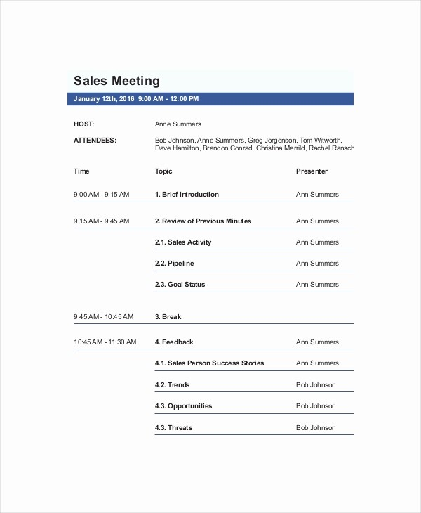 Sample Agenda Templates for Meetings Luxury 12 Sales Meeting Agenda Templates – Free Sample Example