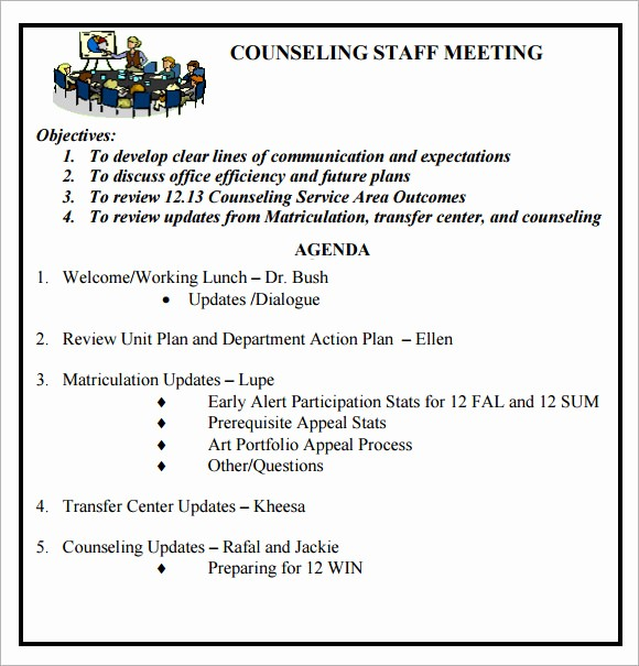 Sample Agenda Templates for Meetings New Staff Meeting Agenda 7 Free Download for Pdf