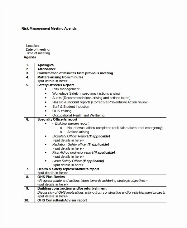 Sample Agenda Templates for Meetings Unique 10 Management Meeting Agenda Templates – Free Sample