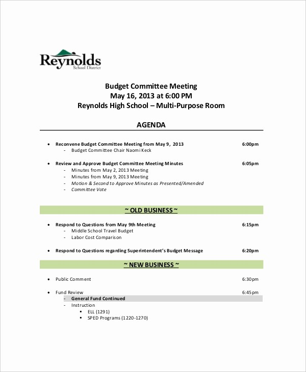 Sample Agendas for Business Meetings Awesome 12 Bud Meeting Agenda Templates – Free Sample Example