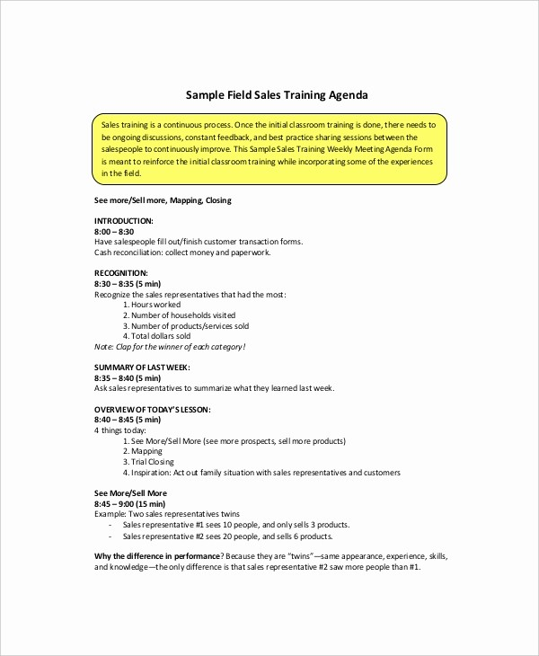 Sample Agendas for Business Meetings Awesome 12 Sales Meeting Agenda Templates – Free Sample Example