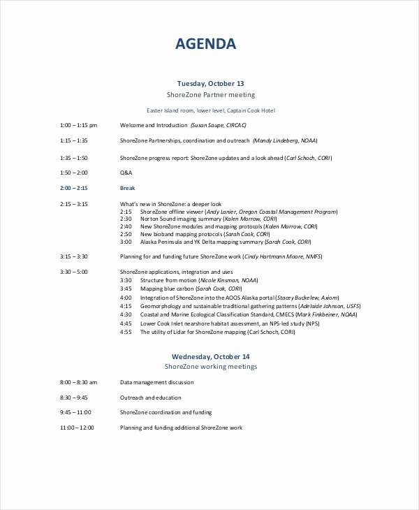 Sample Agendas for Business Meetings Elegant 10 Business Meeting Agenda Templates – Free Sample