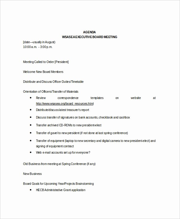 Sample Agendas for Business Meetings Lovely 8 Board Meeting Agenda Templates – Free Sample Example