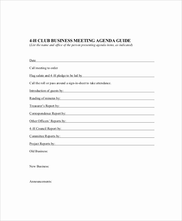 Sample Agendas for Business Meetings Luxury 10 Business Meeting Agenda Templates – Free Sample